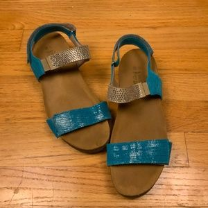 Naot Sandals Turquoise Silver Size 38 US 7